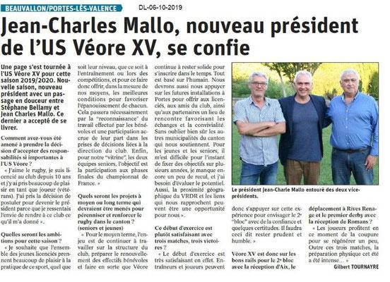 Dauphiné libéré du 06-10-2019- Véore XV PLV
