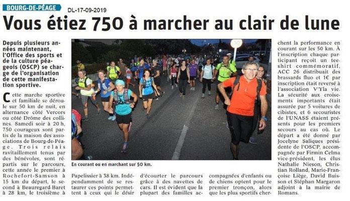 Dauphiné libéré du 17-09-2019- La Marche au Clair de Lune