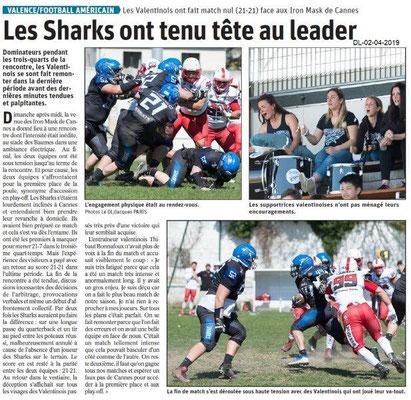 Le Dauphiné Libéré du 02-04-2019- Les Sharks à Valence