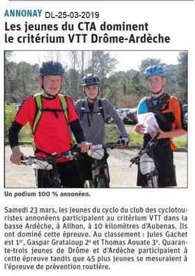 Dauphiné Libéré du 25-03-2019- VTT Annonay