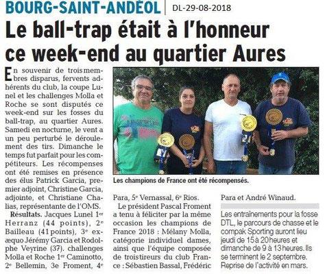 Dauphiné Libéré du 29-08-2018- Félicitations aux champions de France de Ball-Trap