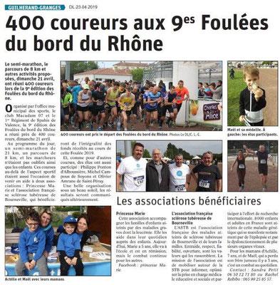 Le Dauphiné Libéré du 23-04-2019- 9e Foulée du bord du Rhône de Guilherand