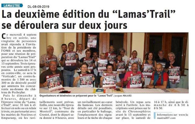 Dauphiné libéré du 08-09-2019- Lamas'Trail
