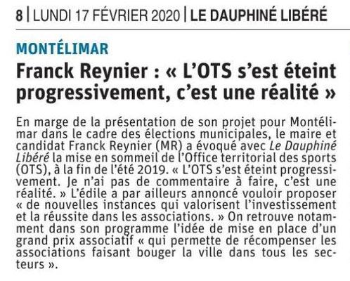 Le Dauphiné Libéré du 17-02-2020- OTS Montélimar
