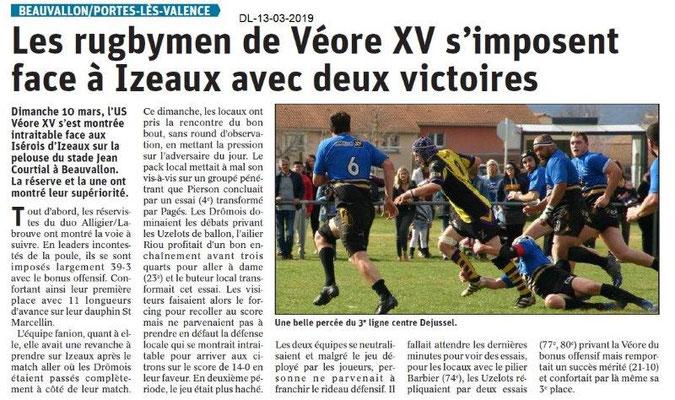 Le Dauphiné Libéré du 13-03-2019- PLV- La Véore XV s'impose