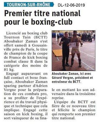 Dauphiné Libéré du 12-06-2019-Kick boxing de Tournon