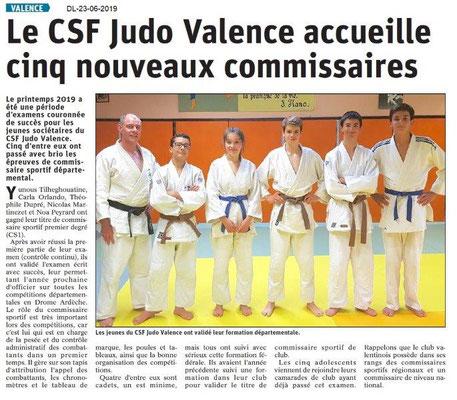 Dauphiné Libéré du 23-06-2019- CSF Judo Valence