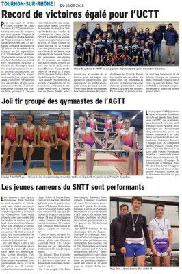 Dauphiné Libéré du -18-04-2018-Les sportifs à Tournon-sue-Rhône