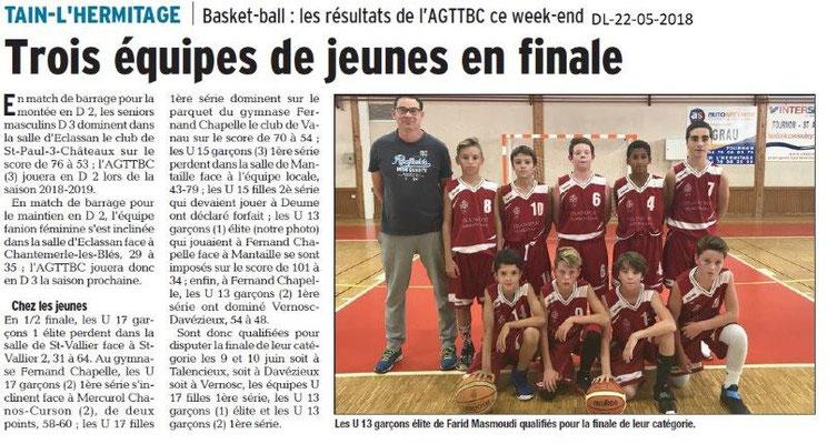 Dauphiné Libéré du 22-05-2018-Basket Tain l'Hermitage