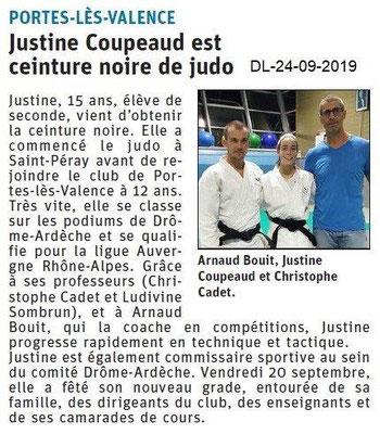 Dauphiné libéré du 24-09-2019- Judo de Portes lès Valence