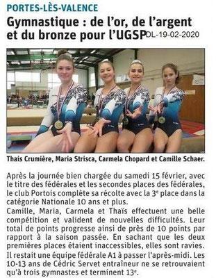 Dauphiné Libéré du 19-02-2020- GYM UGSP PLV