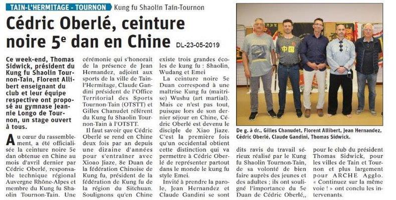 Le Dauphiné Libéré du 23-05-2019- Kung fu Shaolin Tain-Tournon