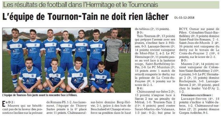 Dauphiné Libéré du 11-12-2018- Foot équipe Tournon-Tain