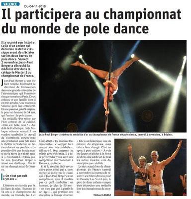 Le Dauphiné Libéré du 04-11-2019- Un valentinois en pole dance