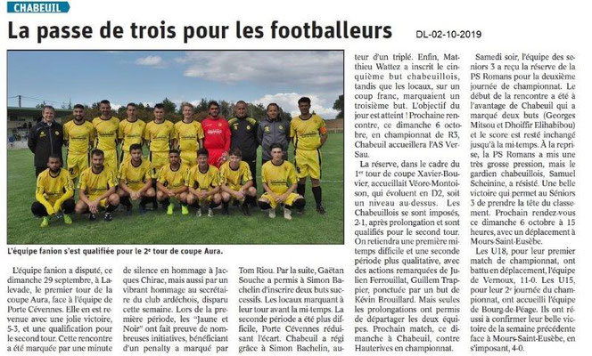 Dauphiné libéré du 02-10-2019- Foot de Chabeuil