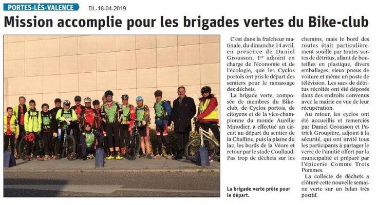 Le Dauphiné Libéré du 18-04-2019- Brigade verte du BIKE