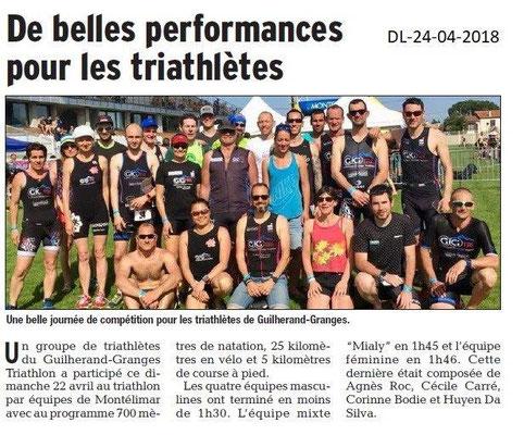 Dauphiné Libéré du 24-04-2018-Triathlon-Guilherand-Granges