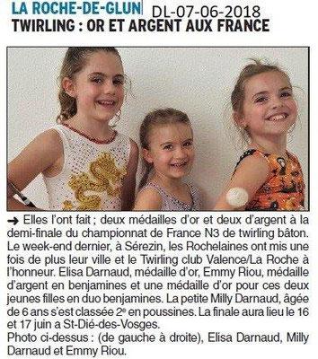 Dauphiné Libéré du 07-06-2018- Twirling Bâton de La Roche de Glun