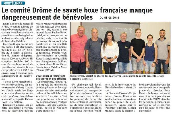 Dauphiné Libéré du 08-06-2019- Savate boxe-française Montélimar