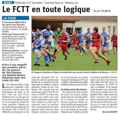 Dauphiné libéré du 21-10-2019- Rugby Tain-Tournon