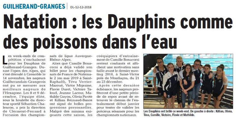 Dauphiné Libéré du 12-12-2018- Guilherang-Granges et les Dauphins