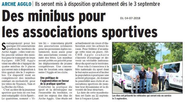 Dauphiné Libéré du 14-07-2018- Tain-Tournon- Mise à disposition de minibus