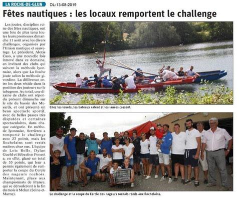 Dauphiné Libéré du 13-08-2019- Fêtes nautiques de La Roche de Glun