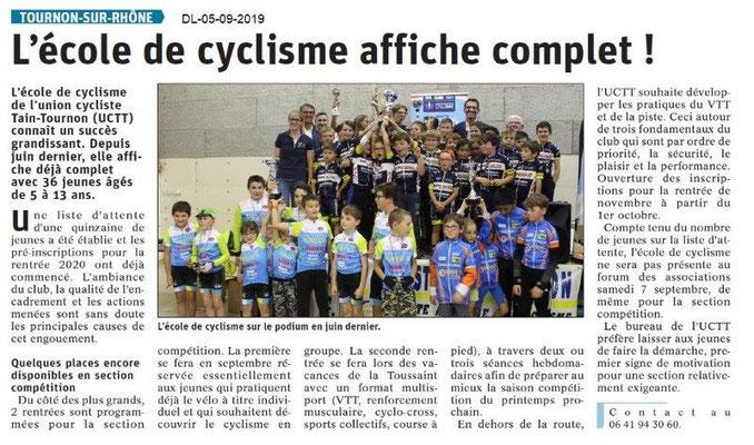 Dauphiné libéré du 05-09-2019- Ecole de cyclisme de Tain-Tournon