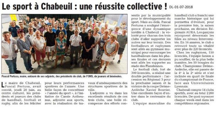 Dauphiné Libéré du 01-07-2018- Le Sport à Chabeuil