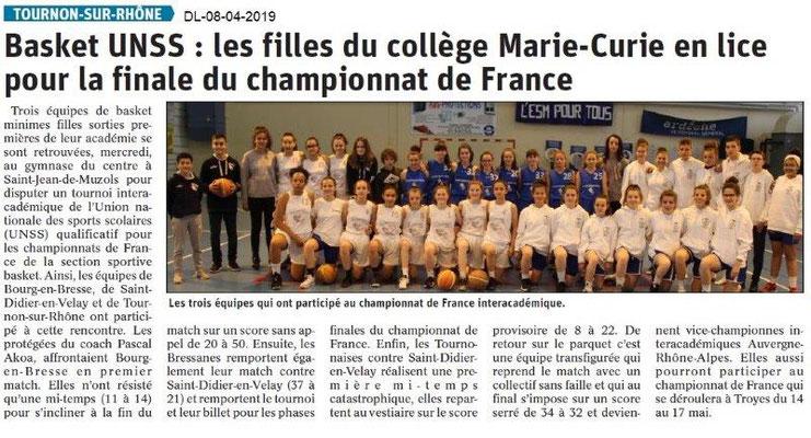 Le Dauphiné Libéré du 08-04-2019- Basket UNSS de Tournon