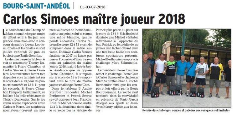 Dauphiné Libéré du 03-07-2018- Maître joueur 2018 à Bourg Saint-Andéol