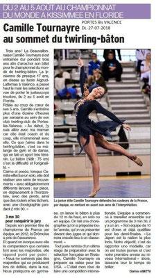 Dauphiné Libéré du 27-07-2018- Bonne chance à Camille