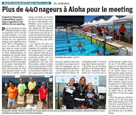 Dauphiné Libéré du 12-06-2019- Natation à Montélimar