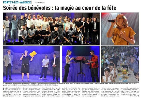 Dauphiné Libéré du 09-09-2018- Soirée des Bénévoles à Portes-lès-Valence