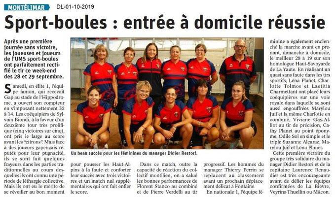 Dauphiné libéré du 01-10-2019- Sport-Boules féminines de Montélimar