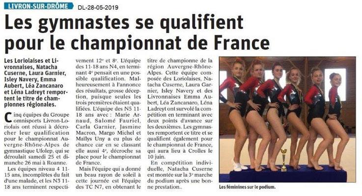 Le Dauphiné libéré du 28-05-2019- Gymnastes de Loriol-Livron