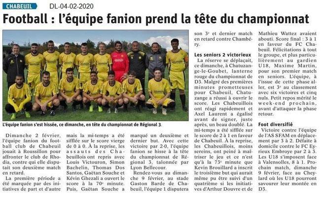 Le Dauphiné Libéré du 04-02-2020- Foot de Chabeuil