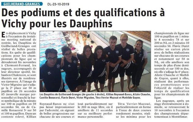 Dauphiné libéré du 23-10-2019- Les Dauphins de Guilherand