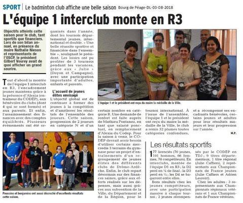 Dauphiné Libéré du 03-08-2018- Badminton à Bourg de Péage