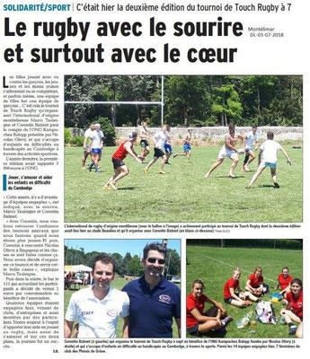 Dauphiné Libéré du 01-07-2018- Rugby Sport-Solidarité