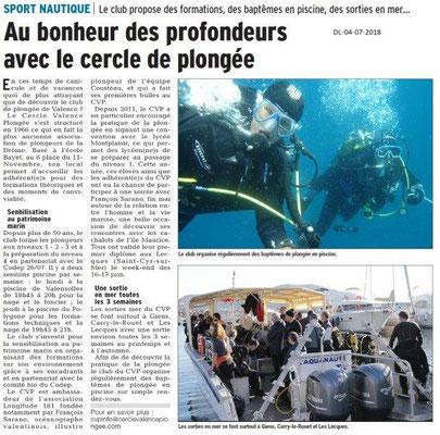 Dauphiné Libéré du 04-07-2018- Sport nautique à Valence