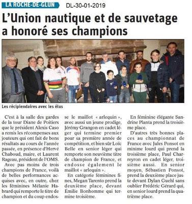 Dauphiné Libéré du 30-01-2019- L'Union nautique de la Roche de Glun