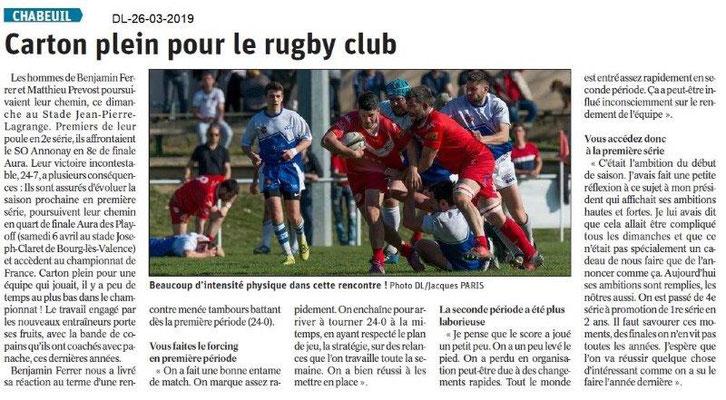 Dauphiné Libéré du 26-03-2019- Rugby de Chabeuil