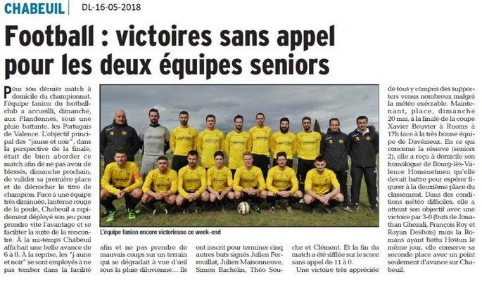 Dauphiné Libéré du 16-05-2018- Football Chabeuil