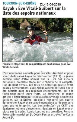 Le Dauphiné Libéré du 12-04-2019- Canoë kayak de Tain-Tournon