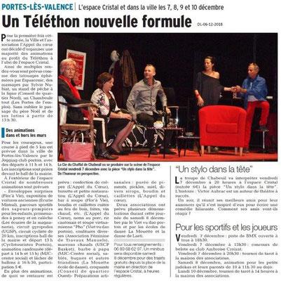 Dauphiné libéré du 06-12-2018- Téléthon à Portes-lès-Valence