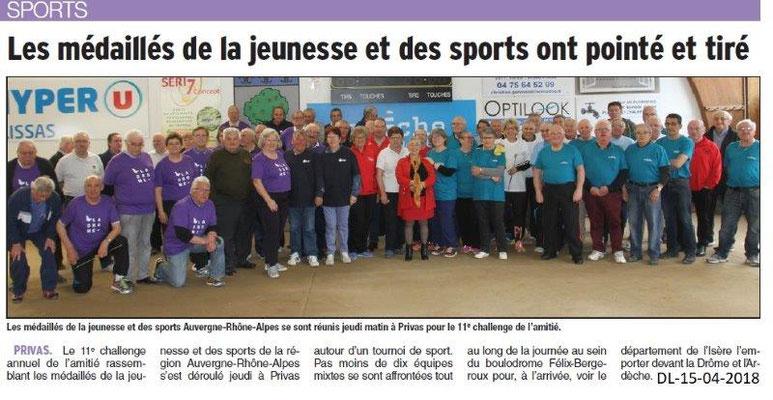 Dauphiné Libéré du 15-04-2018-11ièmeChallenge de l'Amitié MJSEA AURA-Privas
