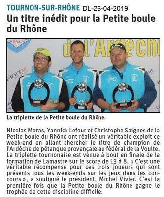 Le Dauphiné Libéré du 26-04-2019- Pétanque provençale de Tournon