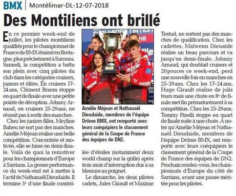 Dauphiné Libéré du 12-07-2018- BMX de Montélimar récompensé