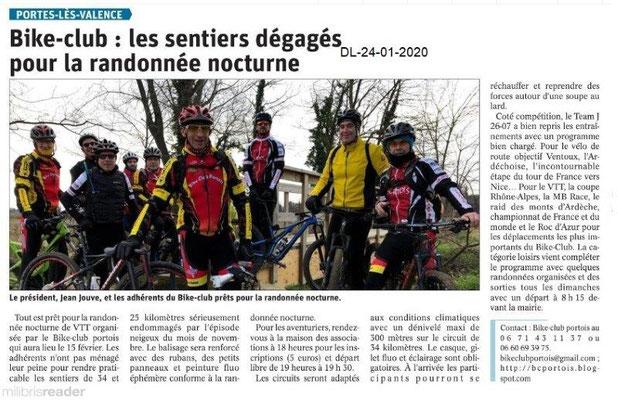 Dauphiné Libéré du 24-01-2020 Bike PLV
